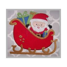 Christmas Santa Claus with Sleigh Applique - 7 Sizes! www.SWAKembroidery.com