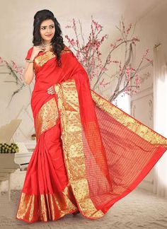 Online shop for latest indian sarees. Shop this glossy orange casual saree.