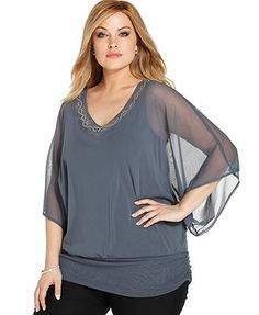 Batwing-Sleeve Beaded Top. Store: Macy's.  (Brand: Alfani.)  $48.99 on sale.  Available in gray or navy.  [Would be appropriate if paired with the palazzo pants.]