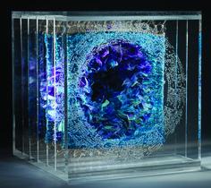"""Katy De Bock (Belgium), """"Les Couleurs Du Monde' Blue"""" 15 x 15 x 18 cm, woven tapestry and other techniques, STI 1"""