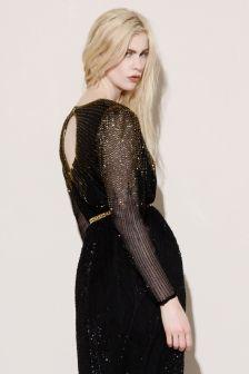 Beaded Cut Out Dress http://thriftedandmodern.com/vintage-80s-beaded-silk-maxi-dress#