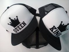 QUEEN KING white both caps one price snapback by shopembroidery