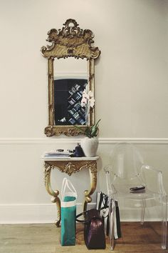"""thebowerbirds: """" Source: The Socialite Antique mirror set and the contemporary ghost chair. Suzanne, Ghost Chairs, Romantic Homes, French Decor, Seasonal Decor, Interior Inspiration, Daily Inspiration, Tumblr, Interior Design"""