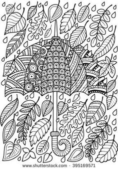 hand draw vector doodle coloring page for adult an umbrella and leaves fashion umbrella style buy this stock vector on shutterstock find other images - Where To Buy Coloring Books For Adults