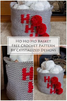 Learn how to make this Ho Ho Ho holiday basket with this crochet basket pattern. This easy crochet basket pattern is so fun to work up! Celebrate Christmas with pom poms! #crochet #crochetpattern #freecrochetpattern #crochetbasket #crochetchristmas #christmascrochet Easy Crochet, Crochet Hooks, Free Crochet, Crochet Basket Pattern, Crochet Patterns, Crochet Baskets, Christmas Baskets, Christmas Stockings, Lion Brand Hometown Usa