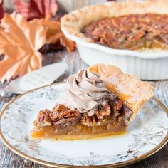 A classic pecan pie topped with chocolate whipped cream. A rich and decadent southern dessert at its best!