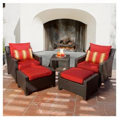 Outdoor Seating - these look so comfy and would add a splash of color to our back deck!