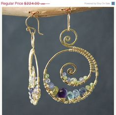 SALE Luxe Bijoux 73 Hammered swirl shapes with tanzanite, topaz, amethyst, and vessonite