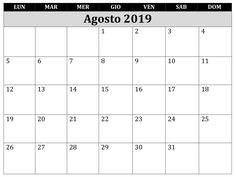 Calendario Agosto 2019 Da Stampare Gratis.21 Best Agosto Calendario 2019 Da Stampare Images Calendar