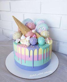 Cute Birthday Cakes, Beautiful Birthday Cakes, Beautiful Cakes, Amazing Cakes, Ice Cream Birthday Cake, Purple Birthday Cakes, Birthday Cake Designs, Creative Birthday Cakes, Birthday Cakes For Teens