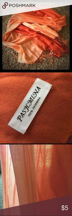 🌟 Orange ombré pashmina 🌟 Never worn, like new orange ombré pashmina ✨✨lightweight and perfect for summer ☀️💖 Accessories Scarves & Wraps