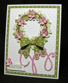 Can't seem to make a card without the Bow Builder Punch. Vines and branches added to the Wondrous Wreath with brown markers. Dogwood blooms from Itty Bitty Accents Punch Set; Stickles in centers.