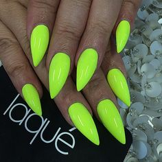 Neon green nails  #getlaqued