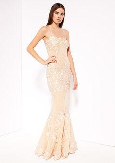 Tomorrows Wedding Emporium - Porsia - Nude Pink Lace Fishtail Maxi Dress, £330.00 (http://www.tomorrowsformal.com/porsia-nude-pink-lace-fishtail-maxi-dress/)