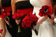 Bridesmaids in red and black - Wedding Spotlight: Sheena + Chris | Magical Day Weddings | A Wedding Atlas Fan Site for Disney Weddings