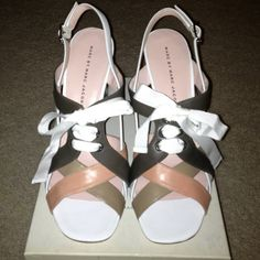 Marc Jacobs multi strap sandals with bow tie Brand new very beautiful Marc Jacobs multi strap sandals with bow tie. Colors white-stone-clay-nude - perfect for spring and summer!!:) Size 10 Marc by Marc Jacobs Shoes Sandals