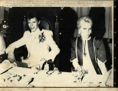 David and Angie Bowie at the Ziggy Farewell Concert after party, 1973.