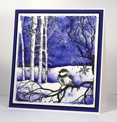 watercoloured Winter Song card by Heather Telford