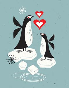 Penguin & baby illustration by Tracy Walker. Penguins: where black tie is never just optional. :)