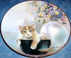 Kitten Cousins CUP OF TROUBLE Ruane Manning CAT KITTEN KITTY Danbury Mint Plate in Collectibles | eBay