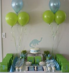 Simple Blue and green dino birthday party.