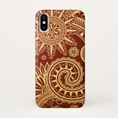 Abstract Red and Gold Floral Pattern iPhone X Case