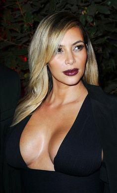 #KimKardashian wears #wine-colored #lipstick. See more celebs on Wonderwall: http://on-msn.com/GKbq5C