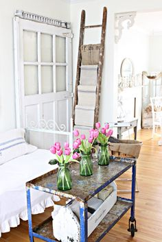 shabby...love the ladder, cart and door ♥