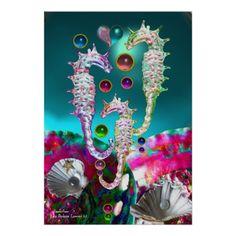 SEAHORSES ,SHELLS AND  PINK TEAL BLUE MOTHER OF PEARL Digital Art Posters by Bulgan Lumini (c)