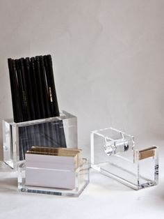 Lucite Desk Collection Lucite desk Desk accessories and Pencil