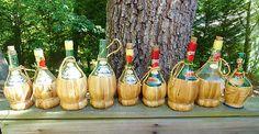 VTG 1960s MID Century Modern Vino Italy Wine Bottles Burlap Twine CHIANTI BROLIO