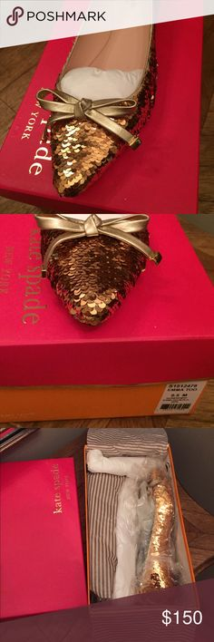 KS Emma too messy gold sequin glitter ballet flat Brand new in box gorgeous Kate Spade Emma Too flats in messy gold sequins- stunning!  Pet free smoke free posher. kate spade Shoes Flats & Loafers
