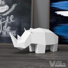 Rhinoceros Papercraft, DIY Paper Sculpture - VitaliStore
