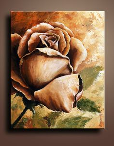 Floral Canvas Print of Rose Acrylic Painting Wall Decor by itarts, $66.00