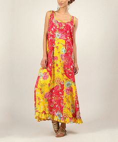 Look at this Red & Yellow Floral Patchwork Maxi Dress on #zulily today!