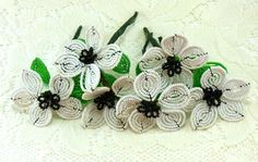 French Beaded Flower Stems Six Vintage White with Black Center French Beaded Flowers Craft Wedding Boutonnière