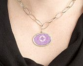 Fabulous Purple and White Oval Pendant with Large Silver Tone Link Chain Poker Choker