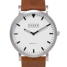 Poole (silver/tan) watch by Shore Projects. Available at Dezeen Watch Store: www.dezeenwatchstore.com