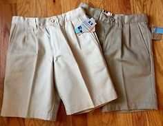 DOCKERS Boy/Girl SZ 5 Pleated Cotton Uniform Shorts Adjust Waist 2 PAIR!