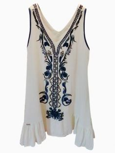 Shop Beaded Beach Dress With With Embroidered Detail from choies.com .Free shipping Worldwide.
