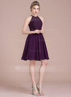 [R$ 341,17] Vestidos princesa/ Formato A Decote redondo Coquetel Tecido de seda Renda Vestido de madrinha