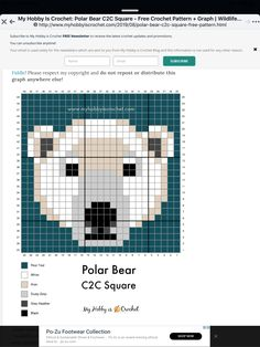 C2c Crochet, Free Crochet, Cross Stitching, Cross Stitch Embroidery, Loom Patterns, Crochet Patterns, Motifs Perler, Polar Animals, Cross Stitch Bookmarks