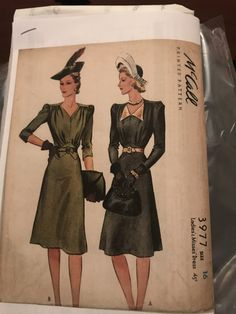 McCall 3977: Ladies' and misses' dress pattern from 1940