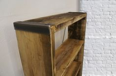 Rustic shelves made from reclaimed wood with metal edges. Our rustic shelves are almost entirely made from reclaimed wood. Types Of Furniture, Furniture Styles, Country Furniture, Shabby Chic Furniture, Vintage Regal, Rustic Bookshelf, Vintage Shelf, Vintage Industrial Furniture, Modern Rustic Interiors