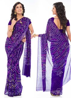 Cbazaar Violet Bandhini Printed Saree