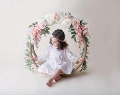 Handmade Floral hoop swing photo prop infant newborn and