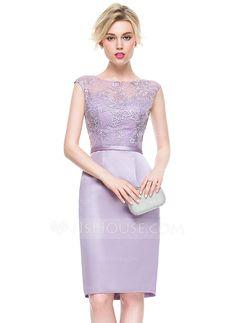 [US$ 94.49] Sheath/Column Scoop Neck Knee-Length Satin Lace Cocktail Dress (016081204)