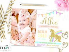 UNICORN INVITATION Unicorn Birthday Party by littlebirdieprints