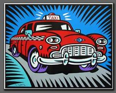 Screenprint - Burton Morris - Taxi blue