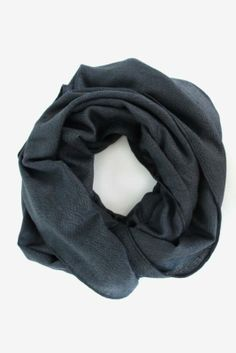This scarf has a subtle herringbone weave and the loveliest deep blue hue. $28